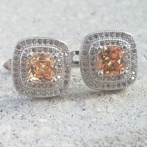 Padparadscha Sapphire Sterling Silver Earrings